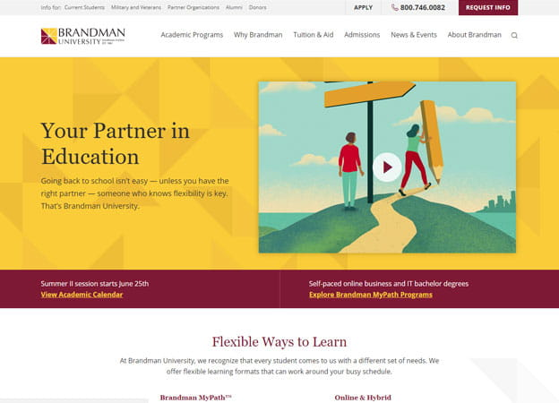 Brandman University homepage screenshot
