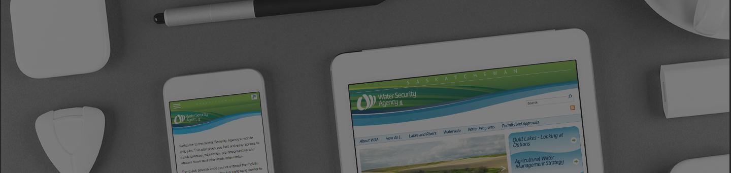 Water Security Agency website displayed on mobile devices