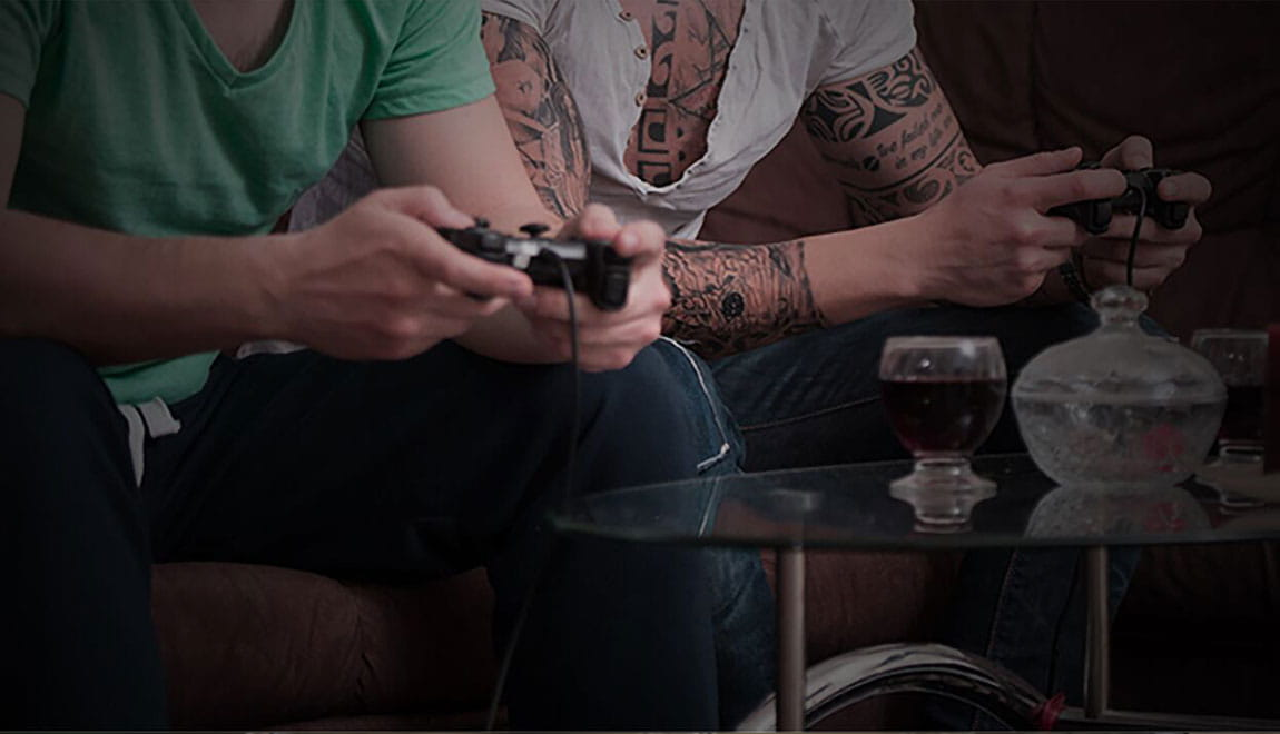 Two people playing video games