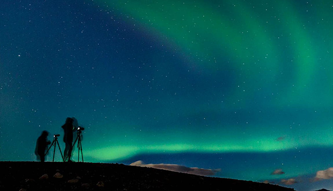 Photographers taking photos of the northern lights