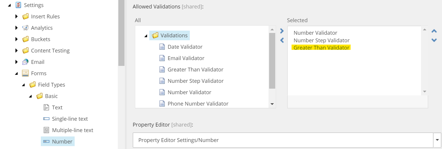Add new Greater Than Validation to Allowed Validations field in Sitecore
