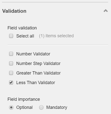 Screenshot of right panel of Forms Editor - 'Less Than Validator'