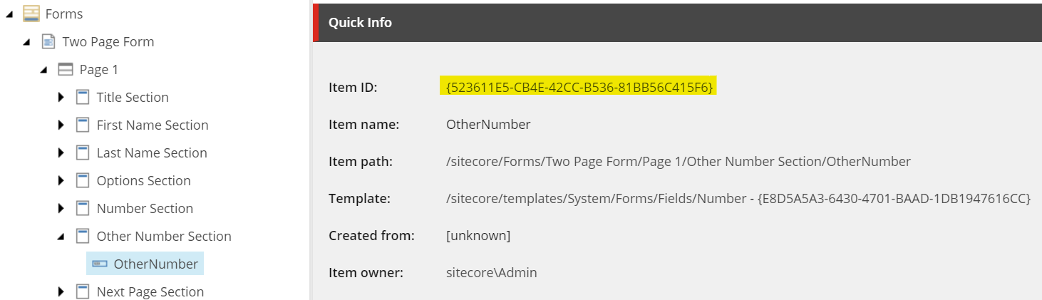 OtherNumber parameters in Sitecore
