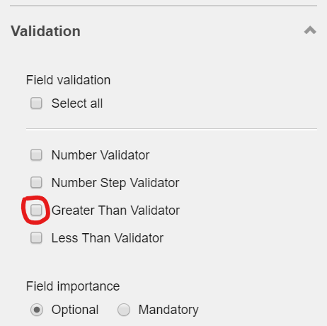 'Greater Than Validator' validation in the Validation section on the right pane screenshot