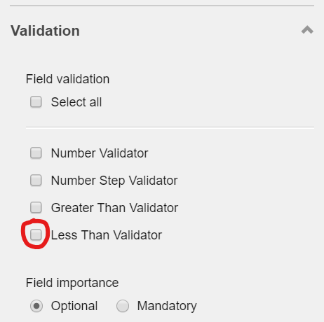'Less Than Validator' validation in the Validation section on the right pane screenshot