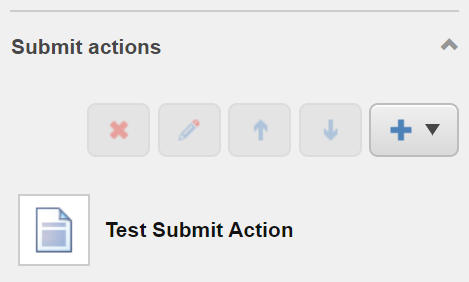 List of Submit Actions for the button screenshot