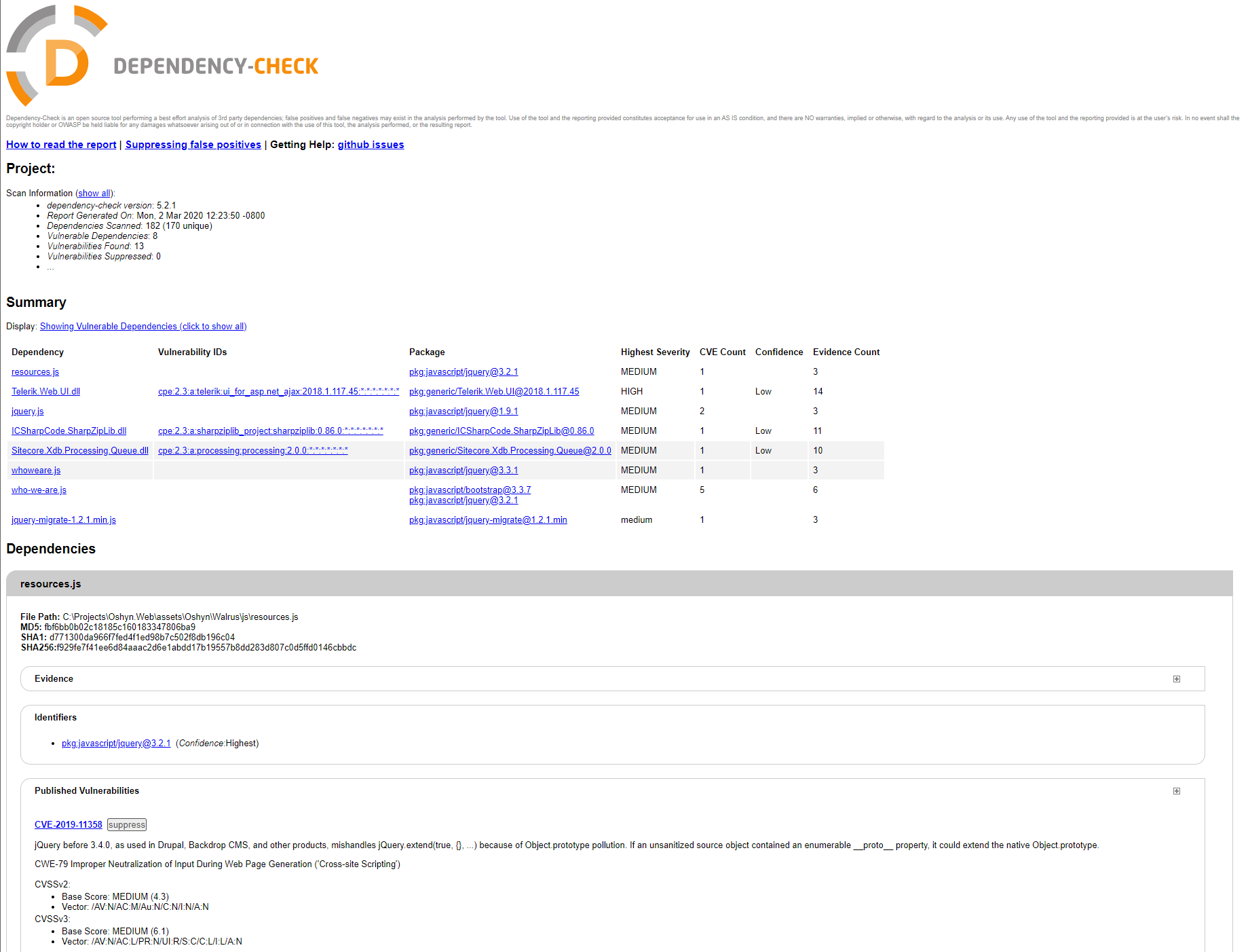 Dependency Check report