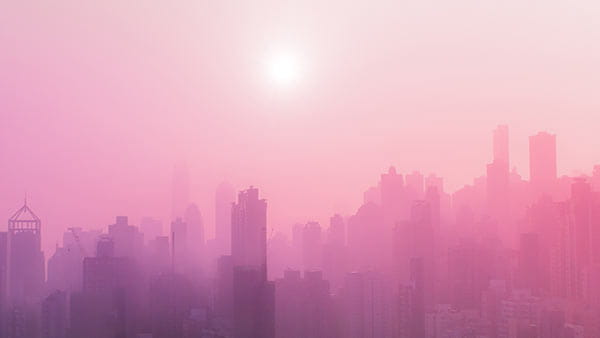 pink foggy cityscape