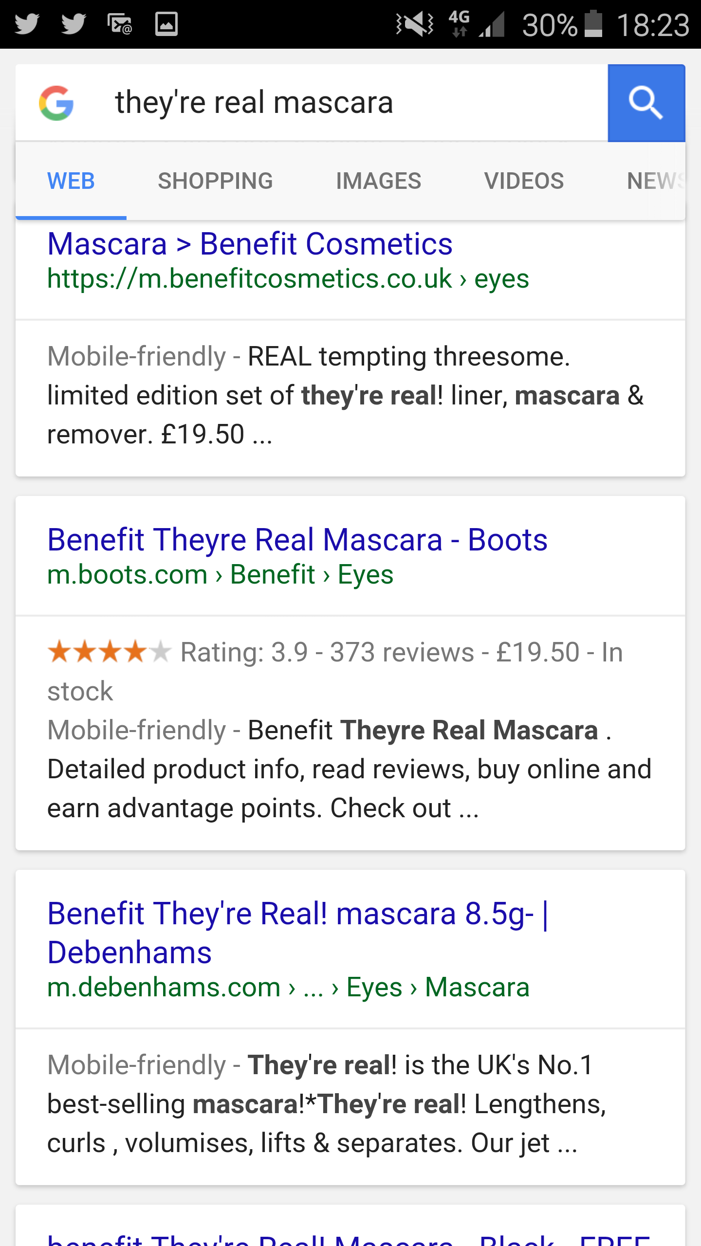 Google results for Real Mascara
