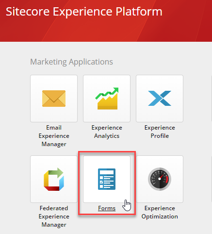 Forms link on Sitecore's Dashboard