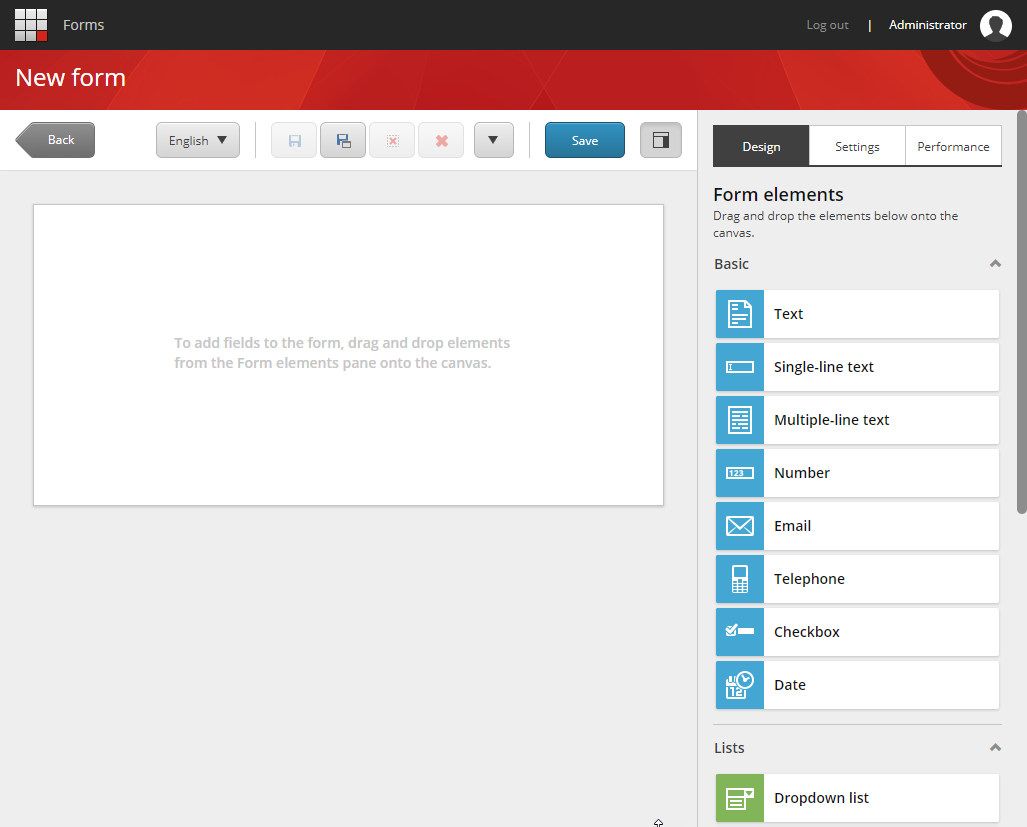 Sitecore Forms Designer Interface