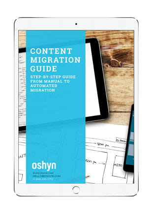 Content Migration Guide ebook cover displayed on iPad