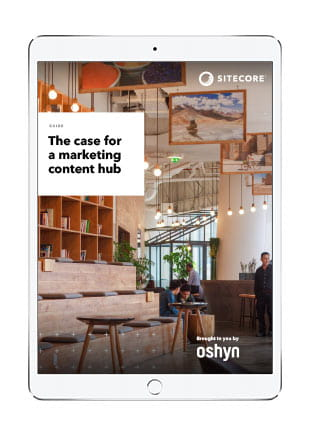 The Case for a Marketing Content Hub ebook cover on tablet screen