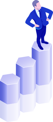 illustration of man standing on top of 3D bar graph